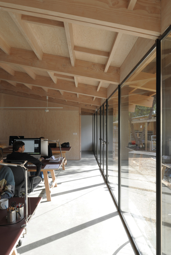 <p>The interior of the studio is lined with Douglas fir ply boards. © David Grandorge</p>