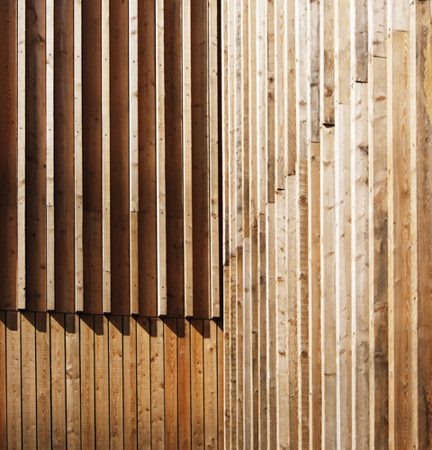 <p>The walls are clad with rough-sawn Siberian larch boards, used in a variety of configurations.</p> <p>© Feilden Clegg Bradley Studios</p>