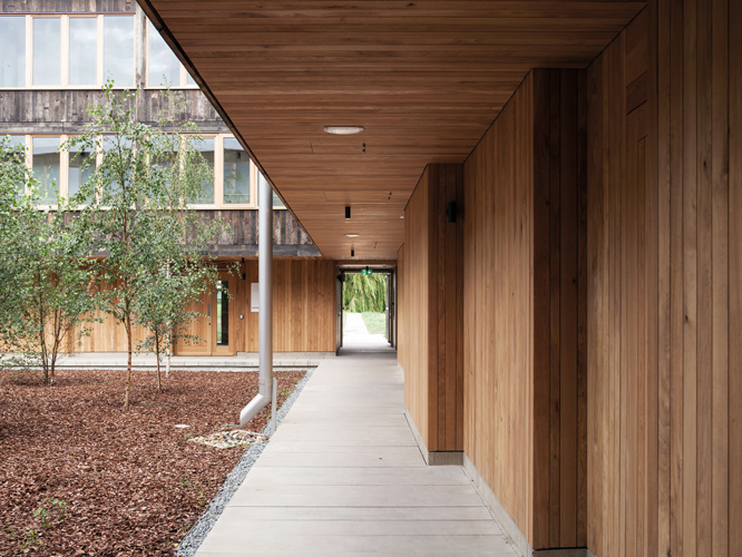 <p>At ground floor level the inner courtyard is lined with new vertical oak. © Johan Dehlin</p>