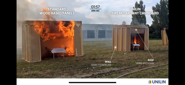 Unilin fire retardant panel vs standard wood panels test.