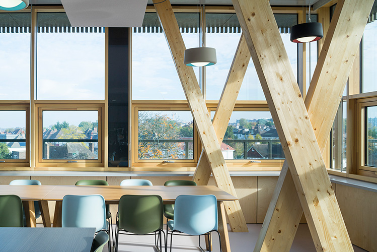 <p>In the sixth form common room, glulam columns are assembled in crossed pairs. © Anthony Coleman</p>
