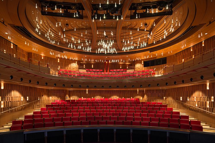 <p>The warm tones of cherry hardwood line the walls, ceiling and balcony front of the theatre. <span>© Ian Ritchie Architects</span></p>