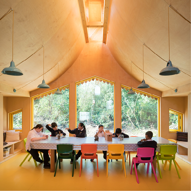 <p>Large windows on the woodland side of the classrooms reflect the changing weather and seasons. © Jim Stephenson</p>