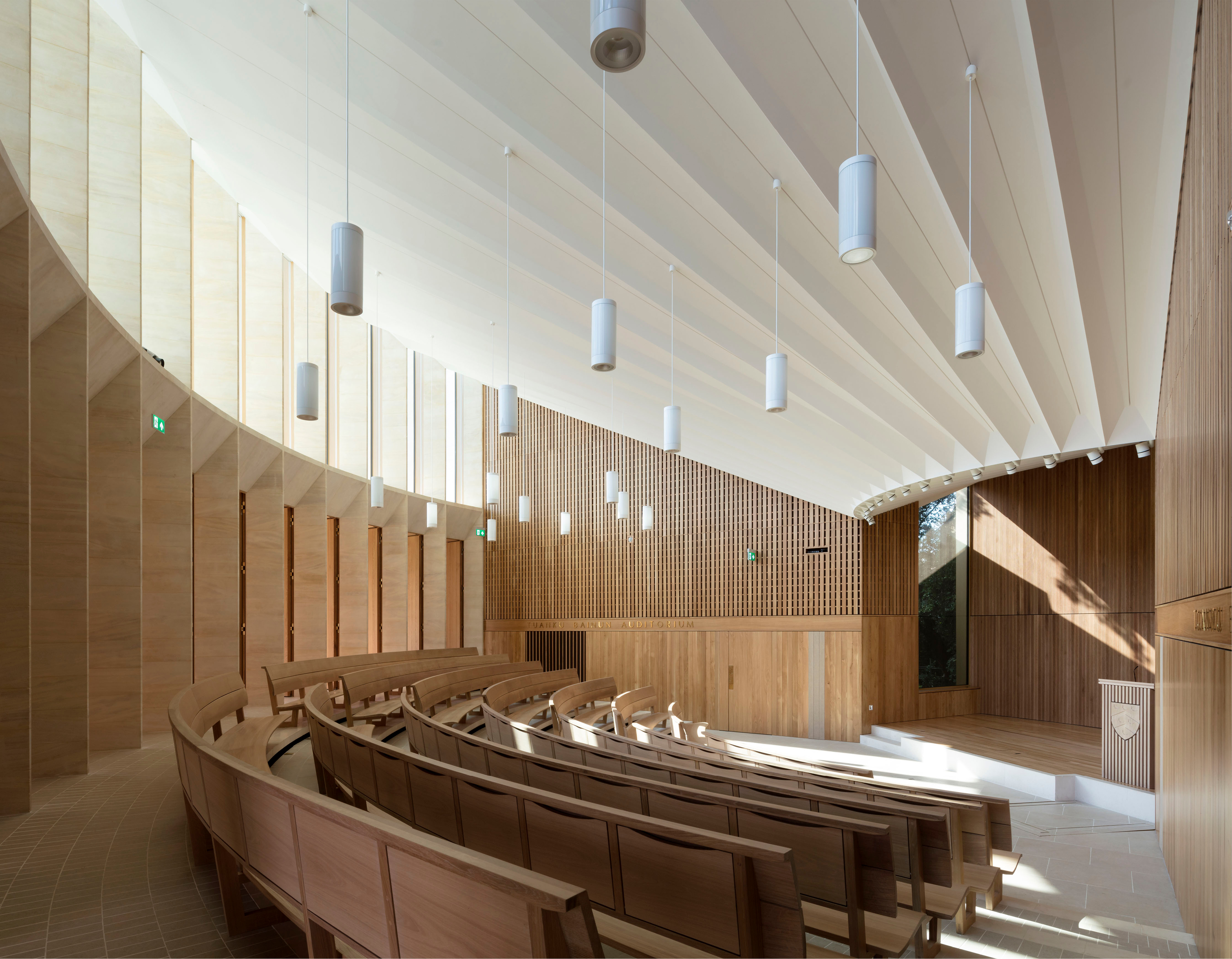 <p><span>The auditorium is lined with vertical oak boards which modulate the acoustic. © Nick Kane</span></p>