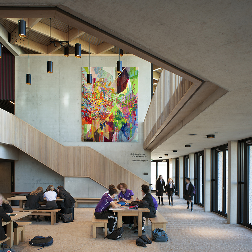 <p>By day the foyer is an informal sitting area for pupils and staff<br /><span>© </span>Philip-Vile</p>