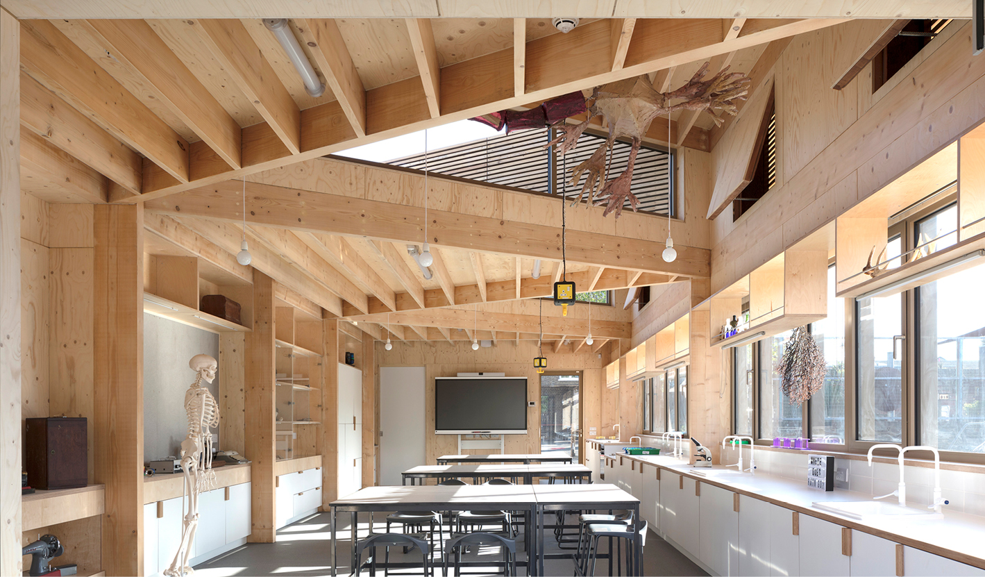 <p>The exposed timber structure gives children an opportunity to become aware of its structural logic. Photography: © Nick Kane</p>