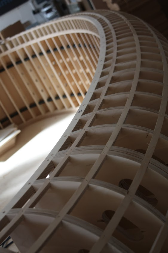 Internal Structure of a bespoke reception desk using birch plywood