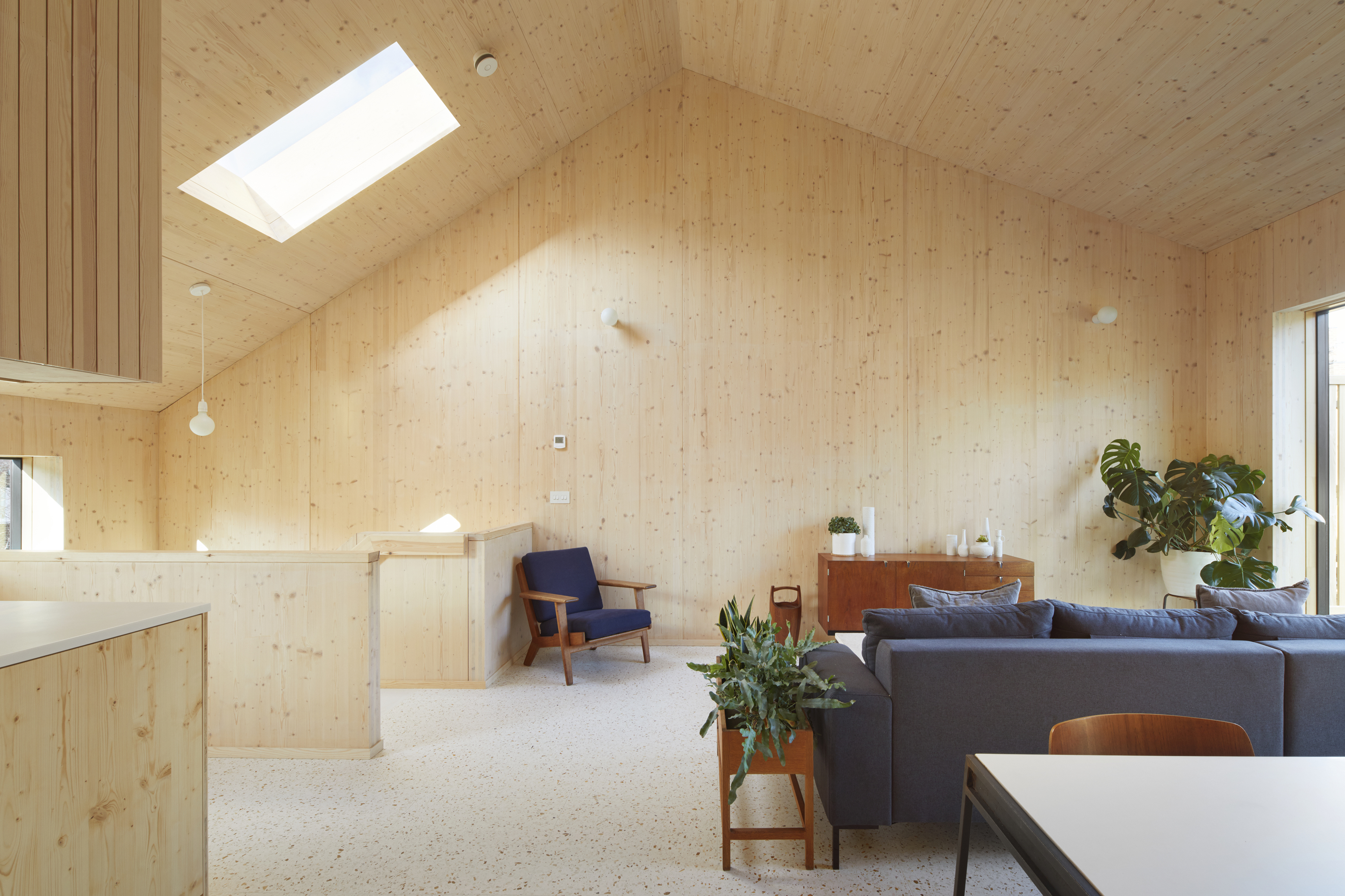 <p>The spruce CLT walls and ceilings create a warm and tactile interior. © Jack Hobhouse</p>