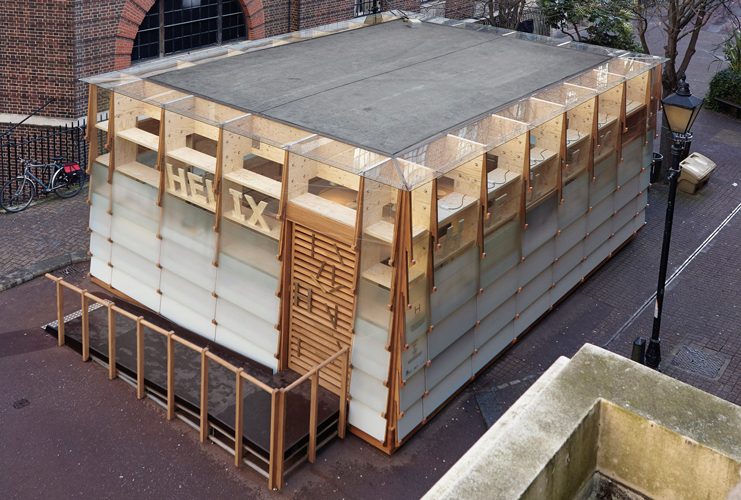 <p>From above, the elegant timber structure is visible through the glass panels at the perimeter.</p> <p><span>© Marco Goody, Royal College of Art</span></p>