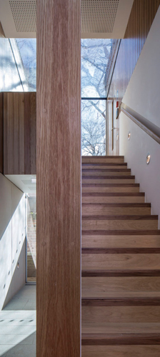 <p>The main staircase in the Garden Pavilion is made of oak and has a recessed oak handrail. Other elements of interior joinery are likewise made of oak.</p> <p><span>© Peter Cook</span></p>