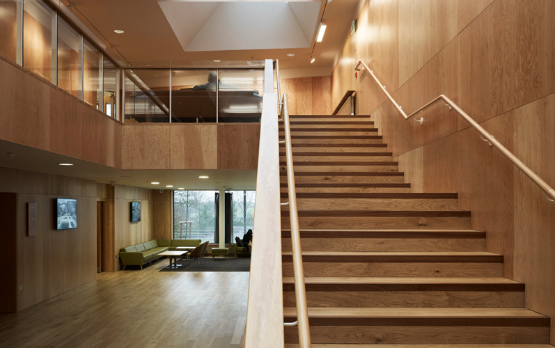 <p><span>The foyer walls are lined with Douglas fir plywood panels.</span></p> <p><span>© Christian Richters</span></p>