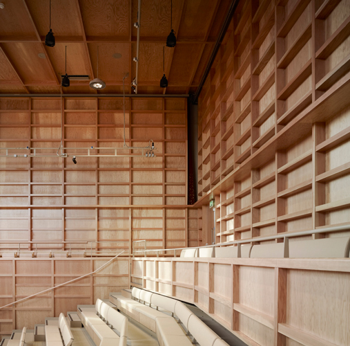 <p><span>The walls are completely lined with Douglas fir plywood panels and battens.</span></p> <p><span>© Christian Richters</span></p>