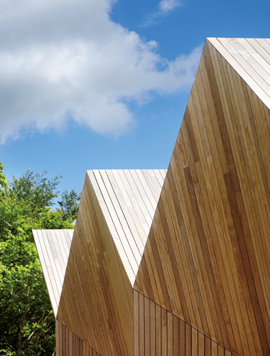 <p><span>Open-jointed boards of heat-treated African hardwood clad the roofs and gables.</span></p> <p><span>© Jack Hobhouse</span></p>