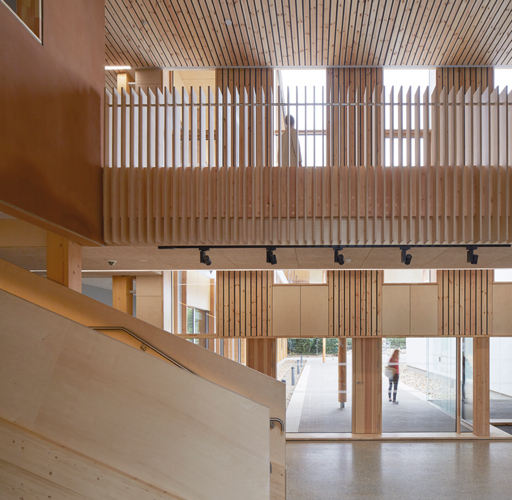 <p><span>Timber, chosen for its low-embodied carbon, is used for screens, staircase and structure.</span></p> <p><span>© Dennis Gilbert</span></p>