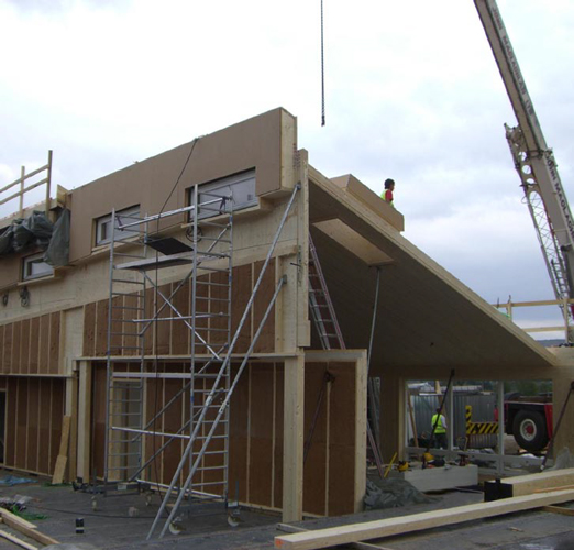 <p>Large Brettstapel wall and roof panels being craned into position.</p> <p>© Gaia Architects</p>