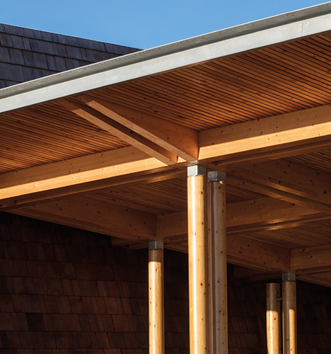 <p>The canopy roof has a soffit of larch boards and is supported by paired glulam beams. © Simon Kennedy Photography</p>