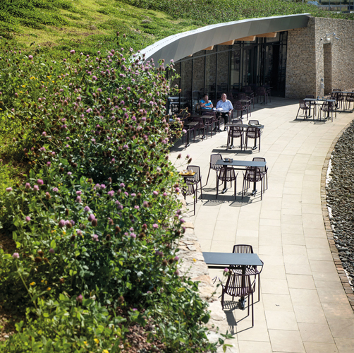 <p>The green roof and mounded shape of the building help to reduce traffic noise, creating a tranquil outside sitting area for visitors. © Percy Dean</p>