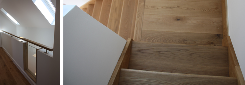 Staircase + Balustrade Detail in European Oak (oiled).  Copyright:  Ness Architecture Ltd.