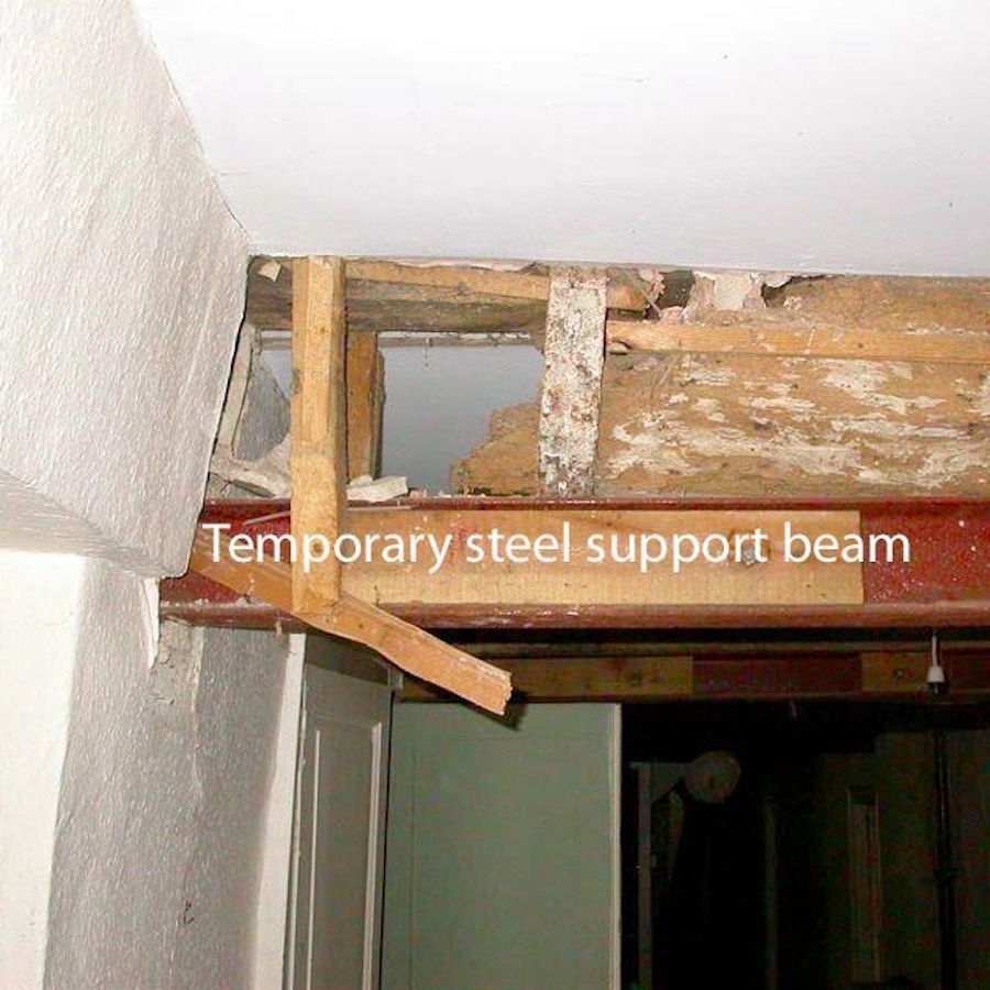 Manor Farm | This failed beam was repaired in-situ and the temporary steel support removed